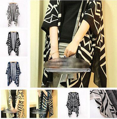 Trendy Geometric Women Oversized Batwing Knit Cardigan Long Sweater Outwear Tops