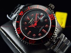Invicta-300m-Men-039-s-Fire-Red-Stealth-Triple-Black-Grand-Diver-Automatic-SS-Watch