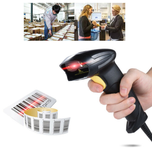 USB Wired Barcode Scanner Scan Gun 1D Label Reader POS System Store Express T0M1