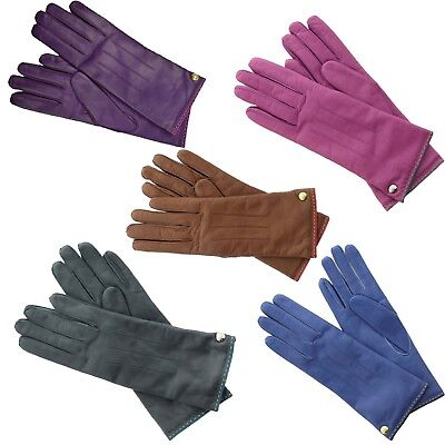 COACH Women/'s Cashmere Lined Leather Gloves PURPLE PLUM size 7 NWT NEW 82821