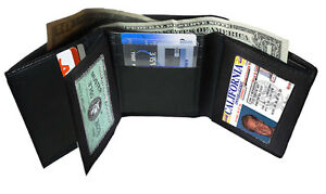 BLACK-GENUINE-LEATHER-MEN-039-S-TRIFOLD-THIN-WALLET-2-ID-WINDOW-CENTER-FLAP-CARD