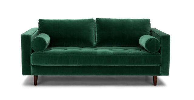 Emerald Green Velvet Compact Sofa Bed