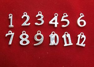 """12pc set """"numbers 1-12"""" charms in shiny silver style (BC1241)"""