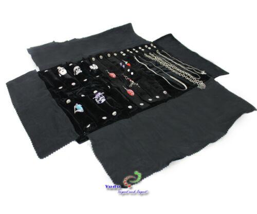 Schmuckrolle Schmucktasche für Ringe Ketten schwarz