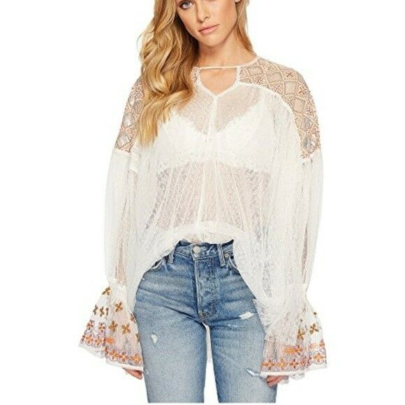 Free People Joyride Top Sheer Embroiderot Blouse Größe Small NEW