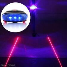5 Blue LED 2 Red Laser Beam Bicycle Bike Cycling Tail Light Warning Lamp Set New