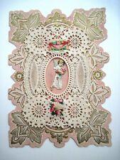 Vintage Victorian Antique Valentine w/ Stunning Paper Lace & Cupid   *
