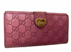 Auth-GUCCI-GG-Pattern-Leather-Long-Wallet-Purse-Pink-60022270