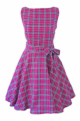 Vintage Retro Rockabilly Punk Tartan Goth Swing Skater Party Circle Dress 6-26