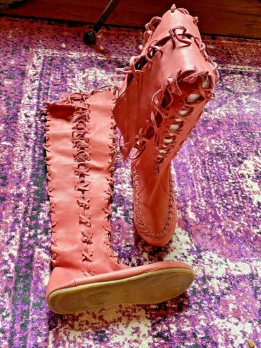Gipsy Dharma Pink Knee High Leather Boots Pixie Fa