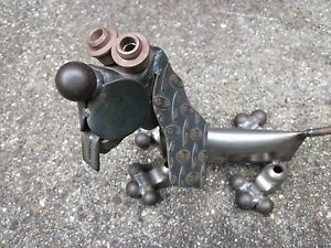 Image Is Loading Vintage Metal Steampunk Dog Sculpture Recycled Car Parts