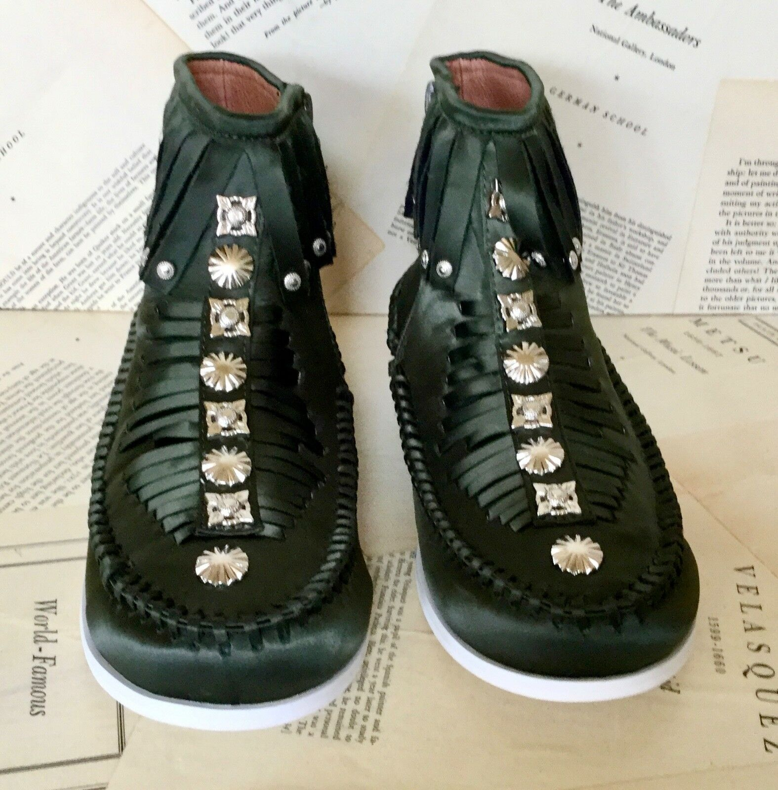 NEW Free People Satin Jeffrey Campbell green Satin People Fringe Stud Mocassin Bootie 7.5 b3a6b7