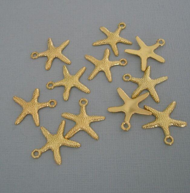 Starfish Gold Plated  Pendant Charm   - 10pcs.