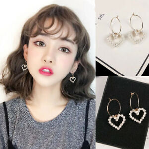 Women-Korean-Circle-Hoop-Heart-Pearl-Drop-Dangle-Fashion-Party-Earrings-Jewelry