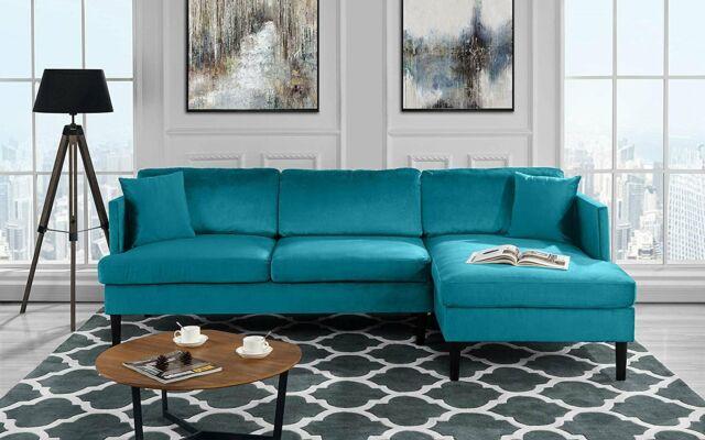 Mid Century Modern Velvet Sectional Sofa, L-Shape Couch w/ Wooden Legs, Blue