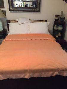 """Vintage KENWOOD Huyck Canada Limited Peach Wool Blanket 64 """" W X 85 """" L"""