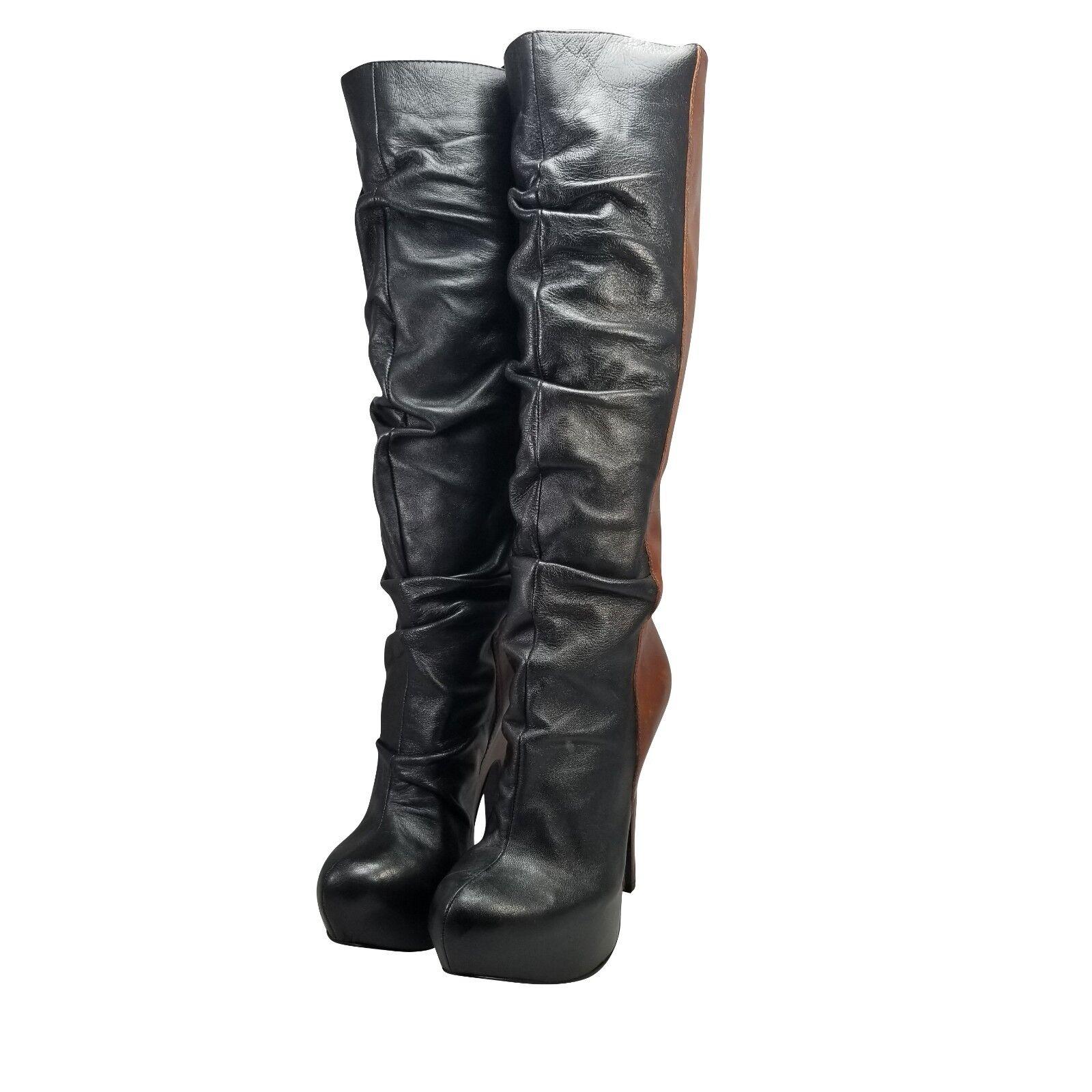 Donald J Pliner Women's DMSX Jayla Boot Size 7.5 Leather Brown Black