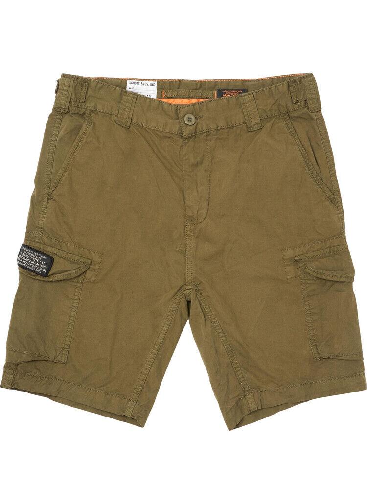 Schott para Hombre Pantalones Cortos Estilo Cargo Militar Ejército trolimp en color caqui, BNWT