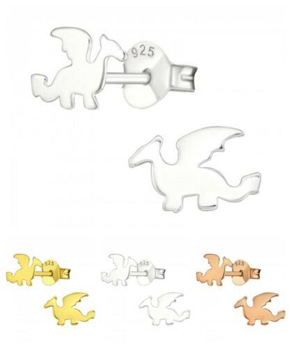 925 Sterling Silver Dragon Clous D/'Oreilles or or Rose Coffret