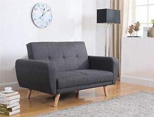 Details about Birlea Farrow Sofa Bed Settee 2 Seater Click Clack Grey  Fabric Scandinavian