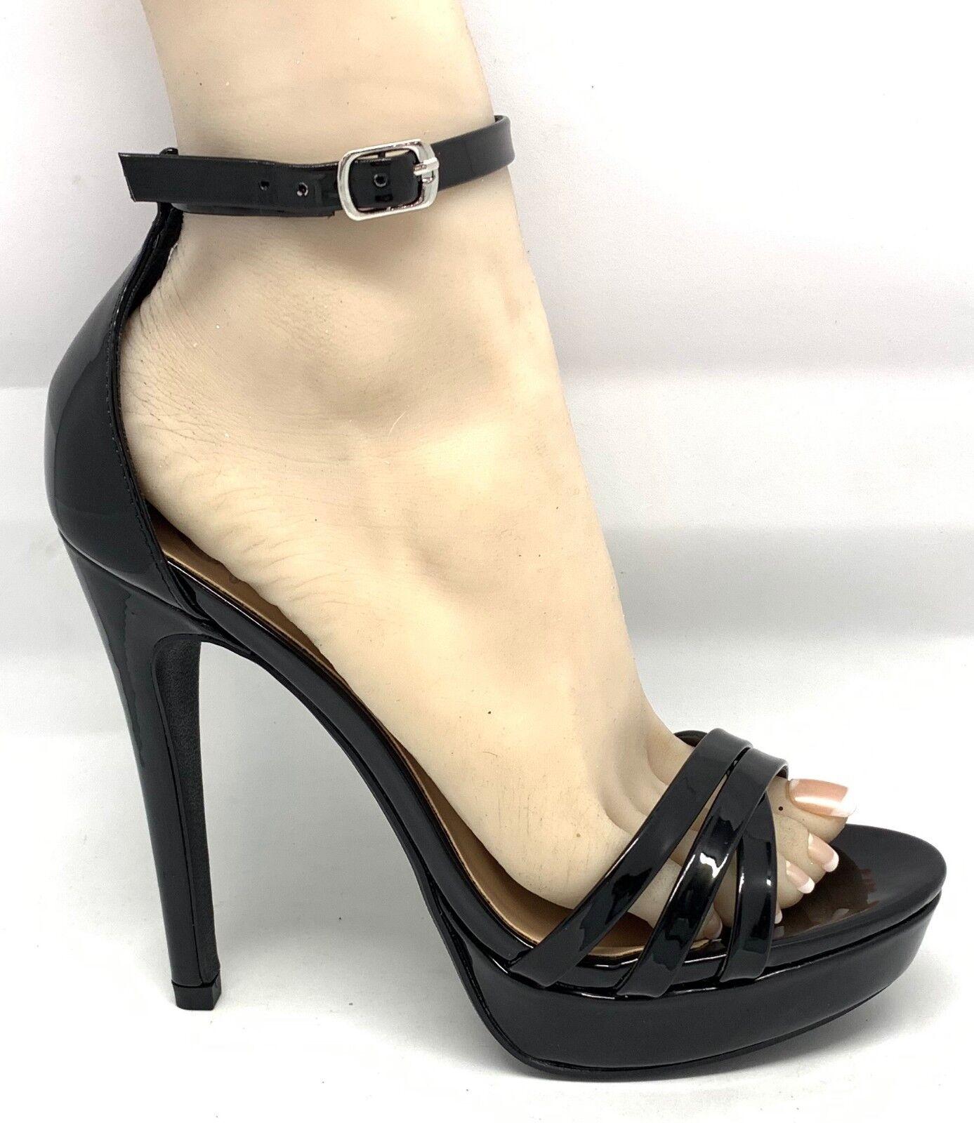Black Patent Cross Multi Strap Open Toe Toe Toe High Heel  Loose-s 924e50