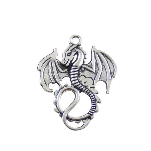 16PCS Antiqued Silver Vintage Alloy Delicate Flying Dragon Pendant Charms 31340