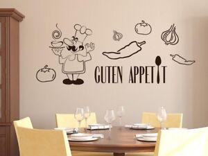 Details zu Wandtattoo Wandaufkleber Set für Küche Guten Appetit Koch Gemüse  Löffel