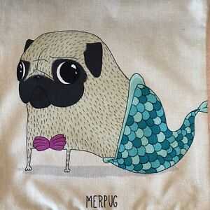Pug-Cushion-Cover-Mermaid-Pug-Design-45cm-x-45cm