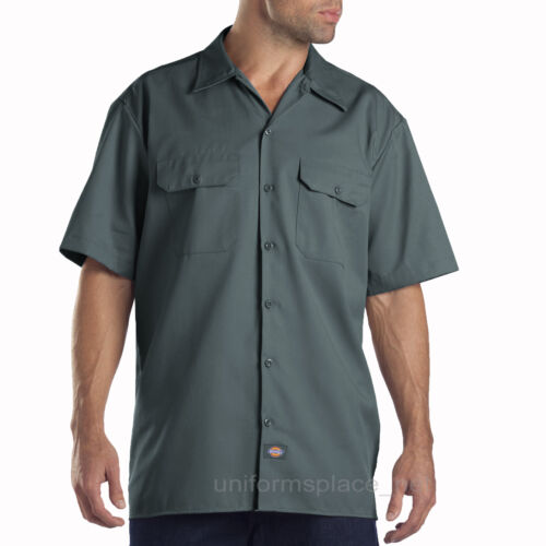 WS574 Solid Color Dickies Work Shirts Men Short Sleeve Button Front Shirt 1574