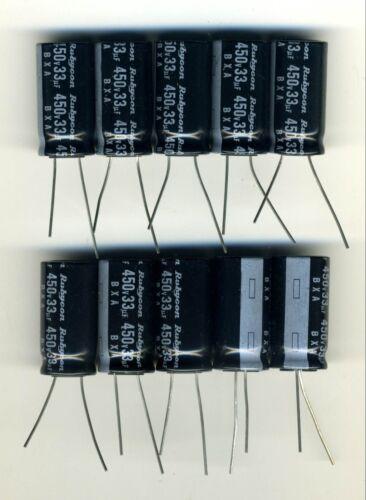 LOT DE 10 CONDENSATEURS HAUTE TENSION 33 µF - 450 Volts