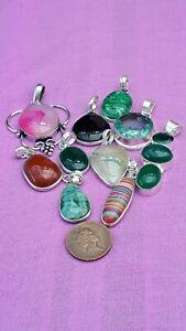 Job-Lot-10-Vintage-Silver-Plated-Gemstone-Pendants-925-Stamped-Bails