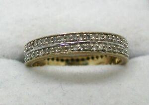 Vintage-Lovely-9-carat-Gold-Double-Row-Diamond-Set-Full-Eternity-Ring-Size-0-1-2