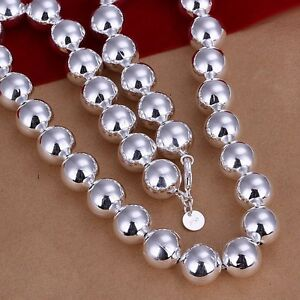 Stunning-925-Sterling-Silver-Filled-14MM-Big-Ball-Beads-Charm-Necklace-Chain-22-034