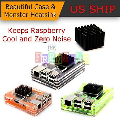 Aluminum Heatsink Best Overclock Kit Raspberry Pi Acrylic Stackable Case Fan