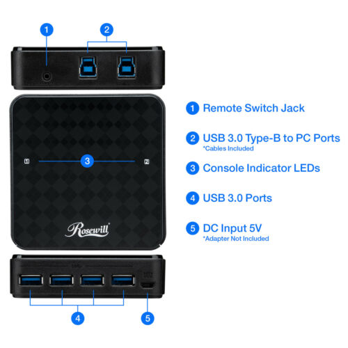 RCUS-17003 4-Port Peripheral Hub for 2 PCs Rosewill USB 3.0 Sharing Switch Box