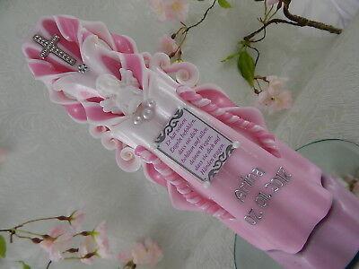 Taufkerze geschnitzt rosa mit Engelfigur Name Datum Taufkerzen Mädchen