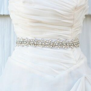 Vintage Bridal Crystal Rhinestone Applique Sash Wedding Dress Waist