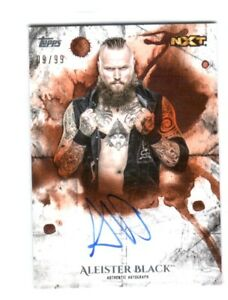 WWE-Aleister-Black-2018-Topps-Undisputed-Orange-On-Card-Autograph-SN-9-of-99
