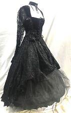Raven Gothic Victorian Ballroom Velvet Yolk Lace Dress & Hoop In Size ML 12/14