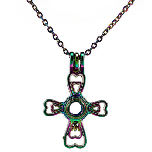C270 Cross Locket Beads Cage Pendant Stainless Steel Rainbow Chain