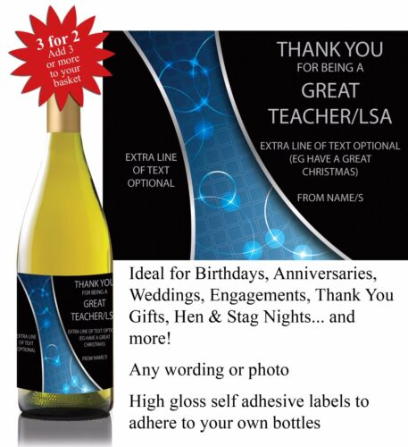022 Personalised Thank You Teacher LSA Christmas Gift Bottle Label *3 for 2*