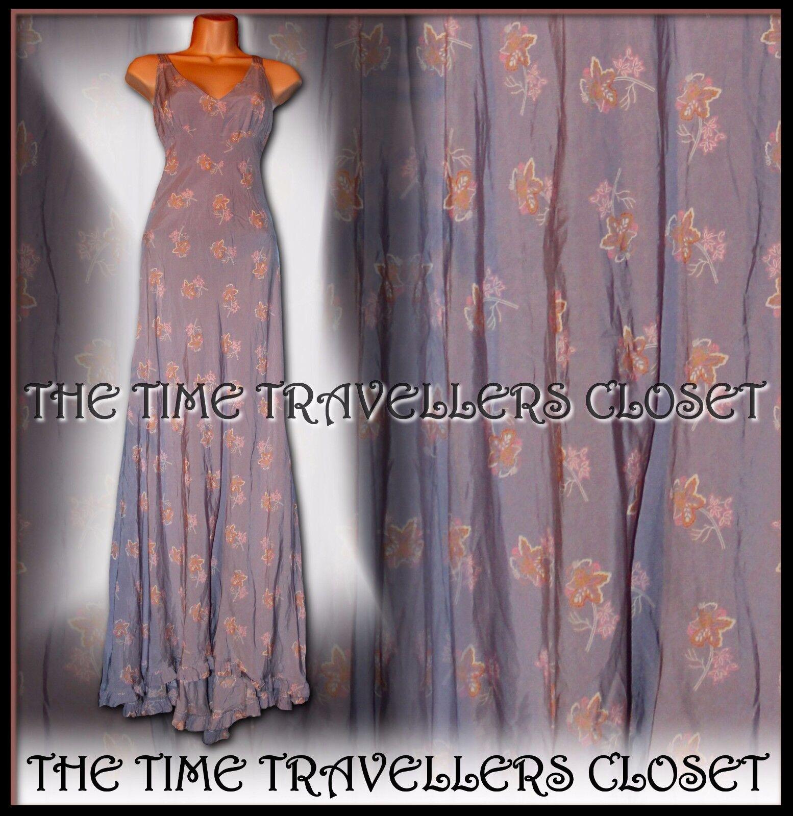 KATE MOSS TOPSHOP lilla rosa arancio floreale Fishtail Maxi abito Vintage 20s