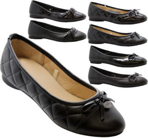 Girls-Ladies-Women-Flat-Slip-On-School-Loafers-Ballerina-Office-Pumps-Shoes-Size