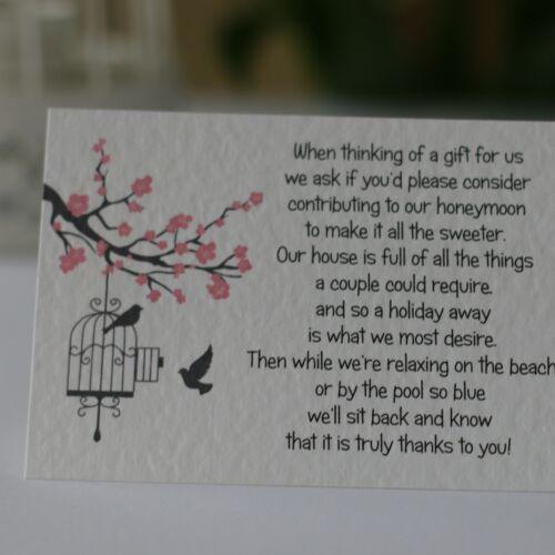Blossom Wedding Gift Poem Cards money cash gift honeymoon