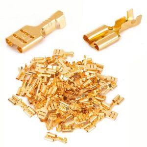 100-Crimp-Kabelschuhe-6-3mm-x-1-2-5mm-Flachstecker-unisoliert-Quetschverbinder