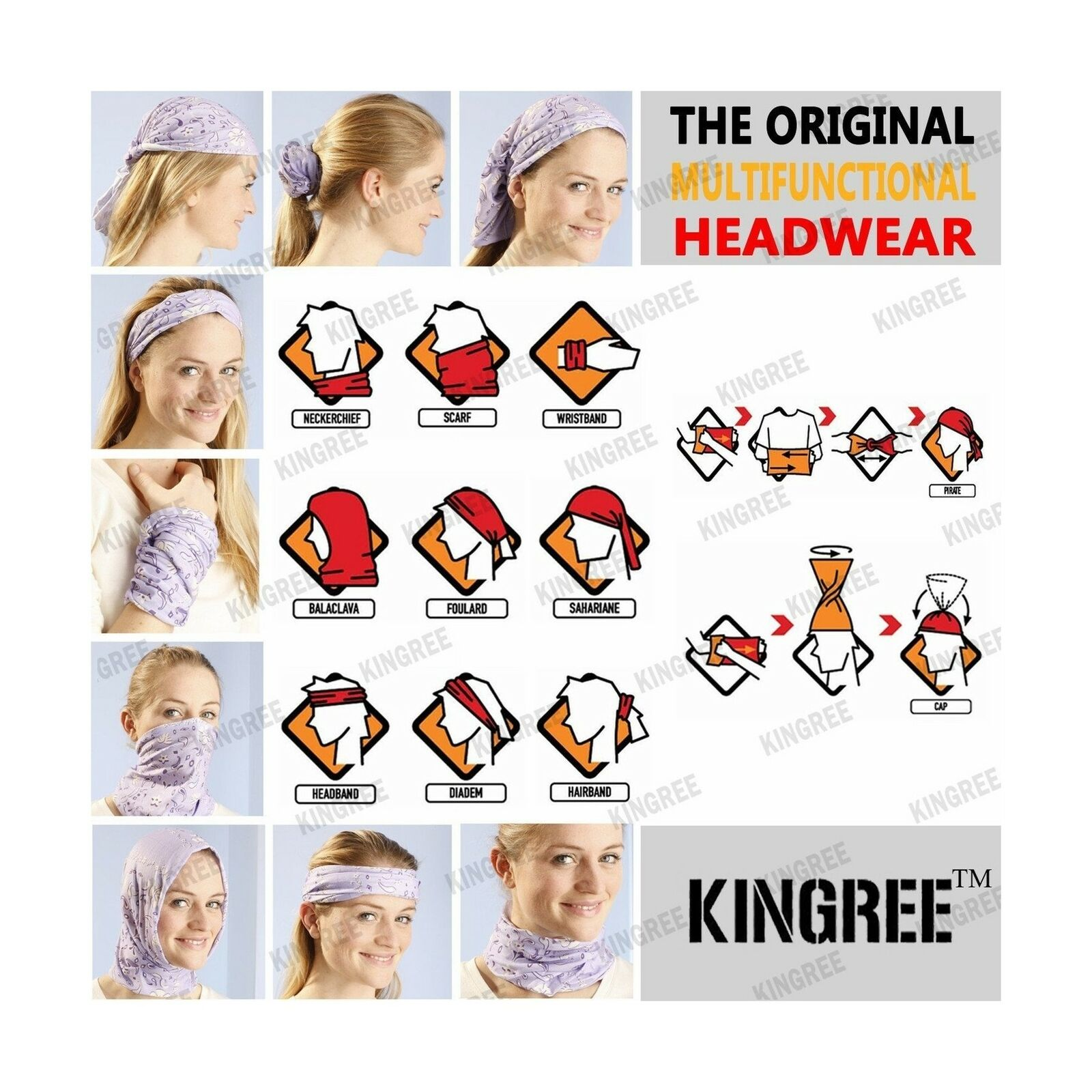 Headwear KINGREE 6PCS Outdoor Magic Scarf Mask Elastic Headbands Headscarves