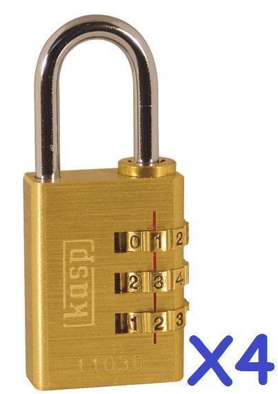 4x Kasp latón 30 Mm Mm Mm Combinación Candado de seguridad de calificación 3 k11030d caso Ideal Lock f5fbaf