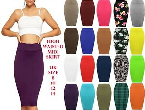 Womens-High-Waisted-Jersey-Knee-Length-Bodycon-Tube-Stretch-Pencil-Midi-Skirt