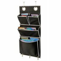 Mail Organizer Over The Door Pockets Hanging Storage Books Magazine Black