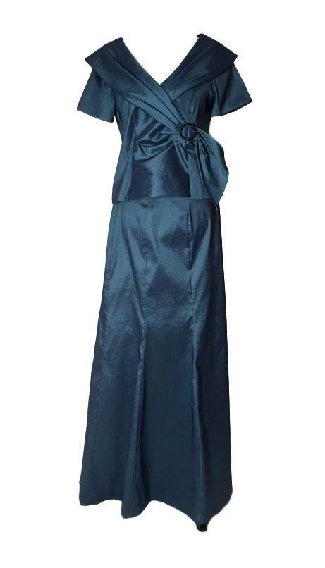 PETITE ALEX EVENINGS 10P 2 Piece Shimmery bluee Ball Gown NWT  Style 266095